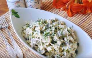 Салат с курицей и консервированными грибами