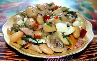 Вкусный салат с маринованными грибами